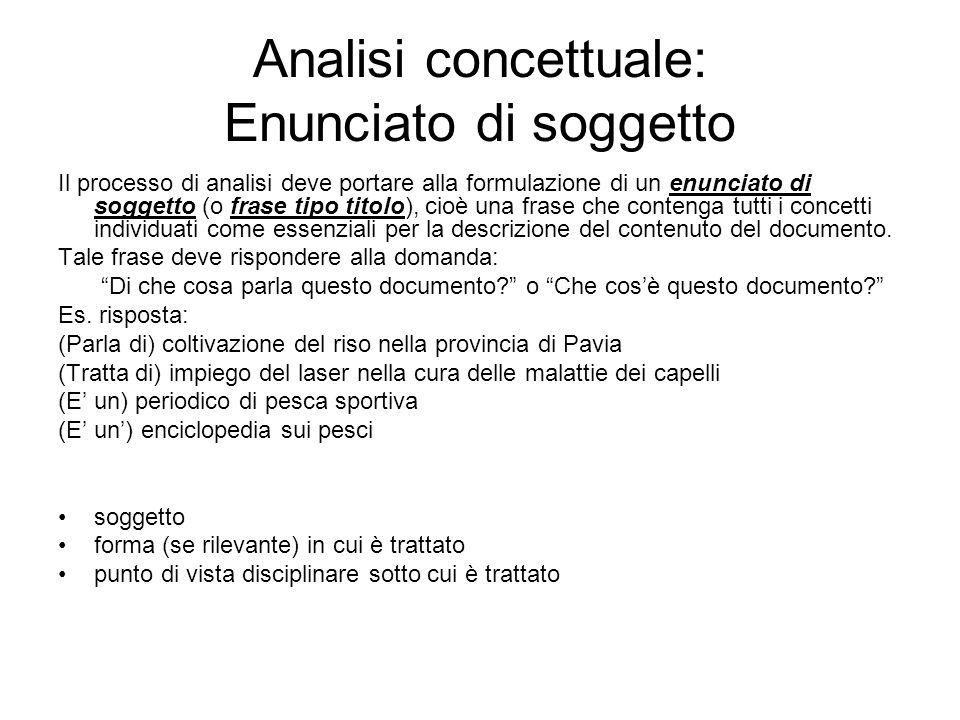Analisi concettuale: Enunciato di soggetto