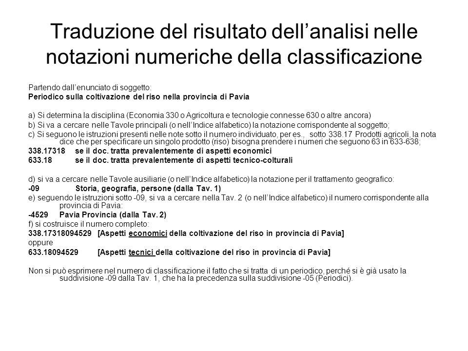 Traduzione del risultato dell'analisi nelle notazioni numeriche della classificazione