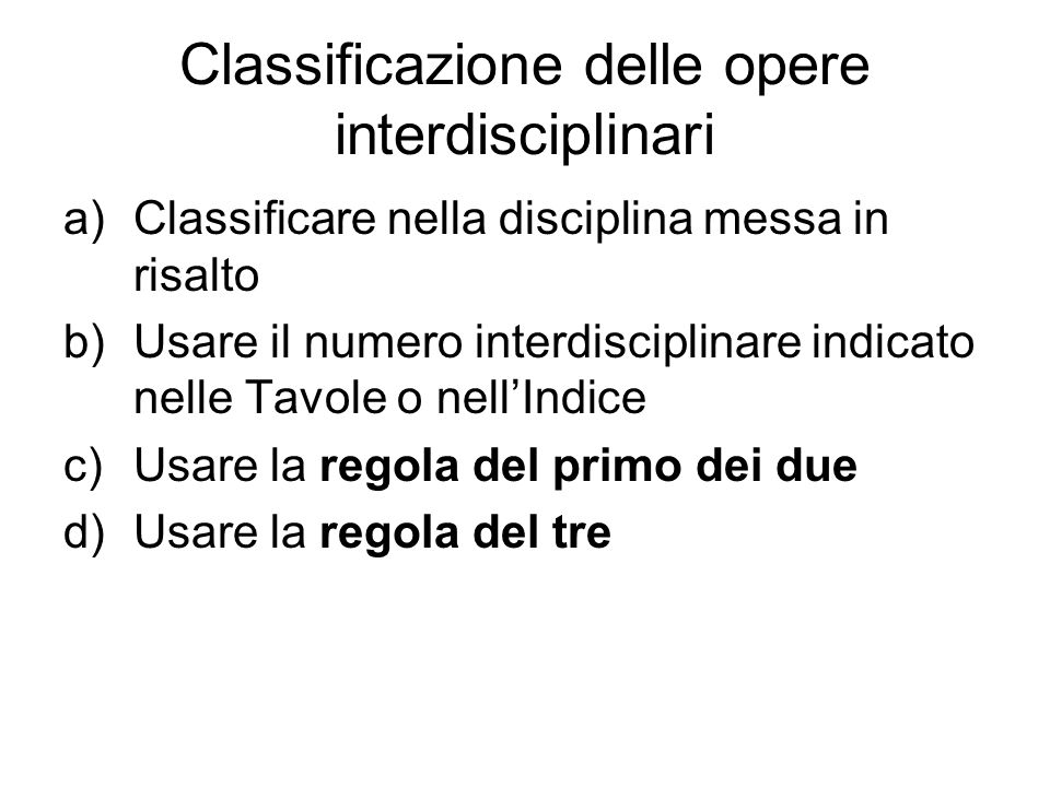 Classificazione delle opere interdisciplinari