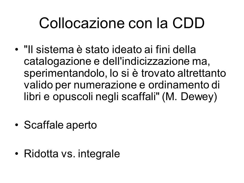 Collocazione con la CDD