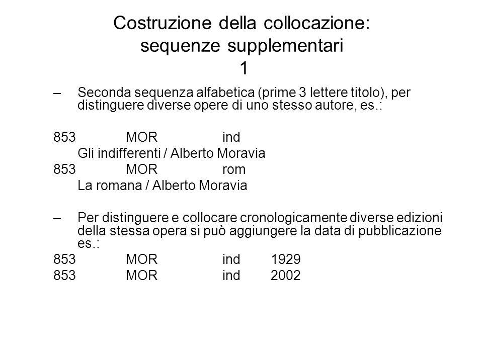 Costruzione della collocazione: sequenze supplementari 1