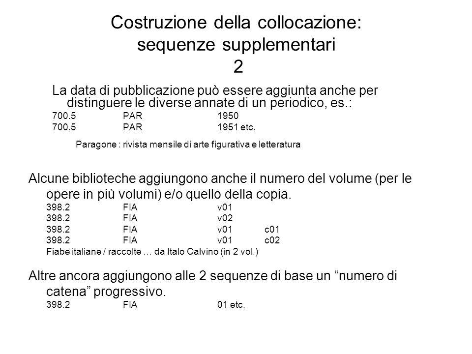 Costruzione della collocazione: sequenze supplementari 2