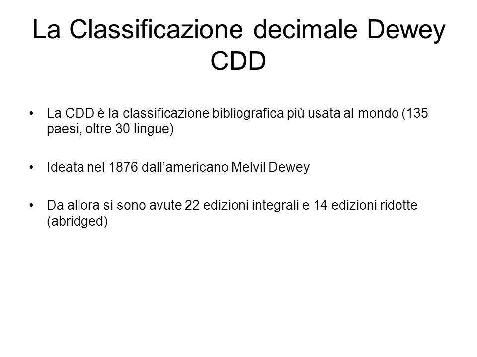 La Classificazione decimale Dewey CDD