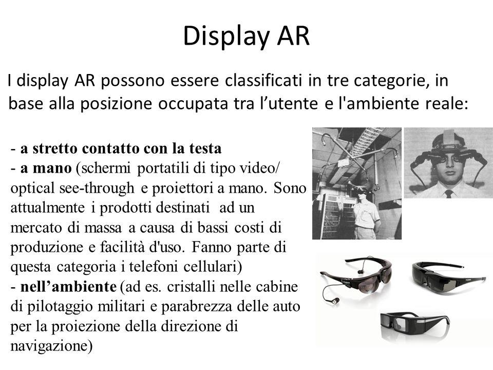 Display AR I display AR possono essere classificati in tre categorie, in base alla posizione occupata tra l'utente e l ambiente reale: