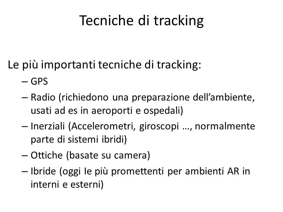 Tecniche di tracking Le più importanti tecniche di tracking: GPS