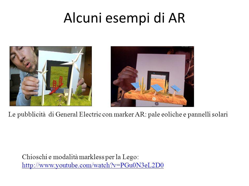 Alcuni esempi di ARLe pubblicità di General Electric con marker AR: pale eoliche e pannelli solari.