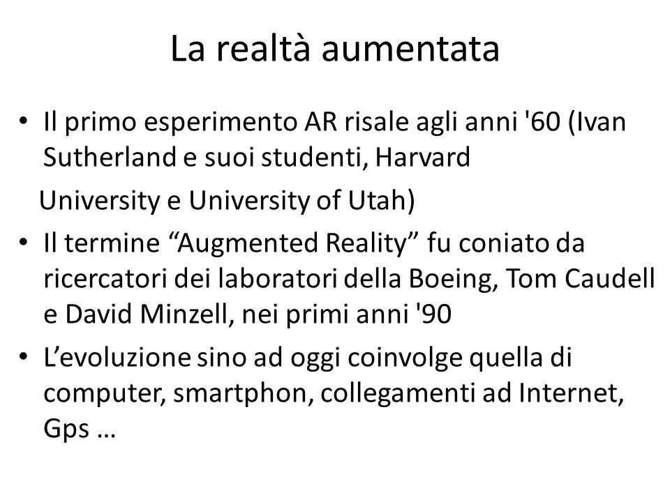 La realtà aumentataIl primo esperimento AR risale agli anni 60 (Ivan Sutherland e suoi studenti, Harvard.