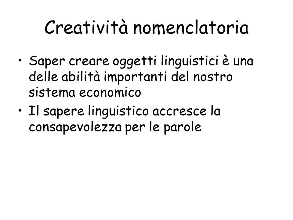 Creatività nomenclatoria