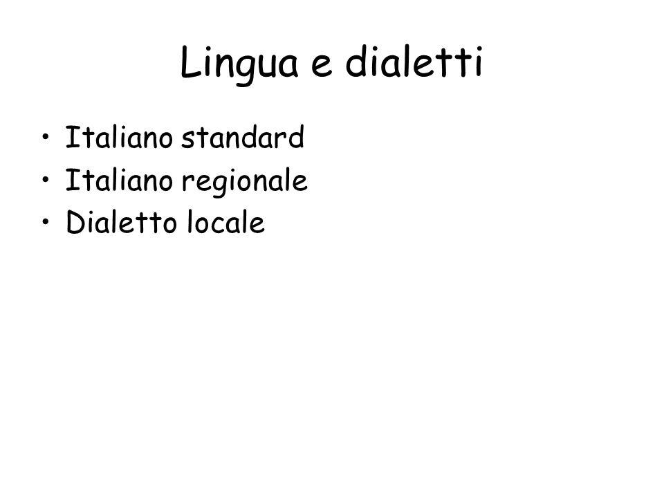 Lingua e dialetti Italiano standard Italiano regionale Dialetto locale