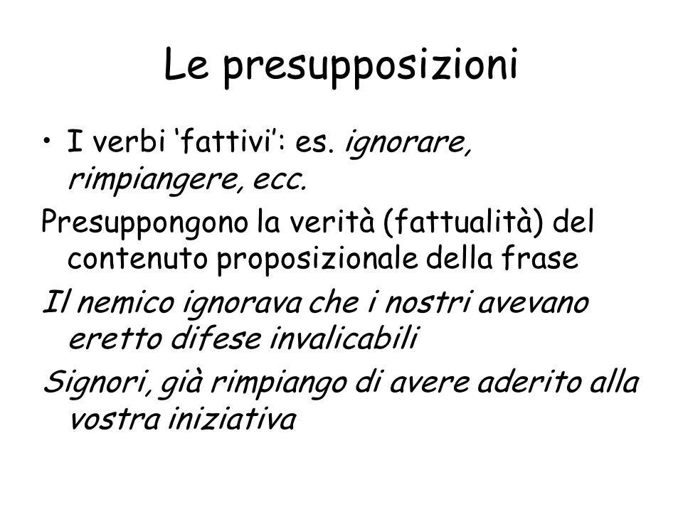 Le presupposizioni I verbi 'fattivi': es. ignorare, rimpiangere, ecc.