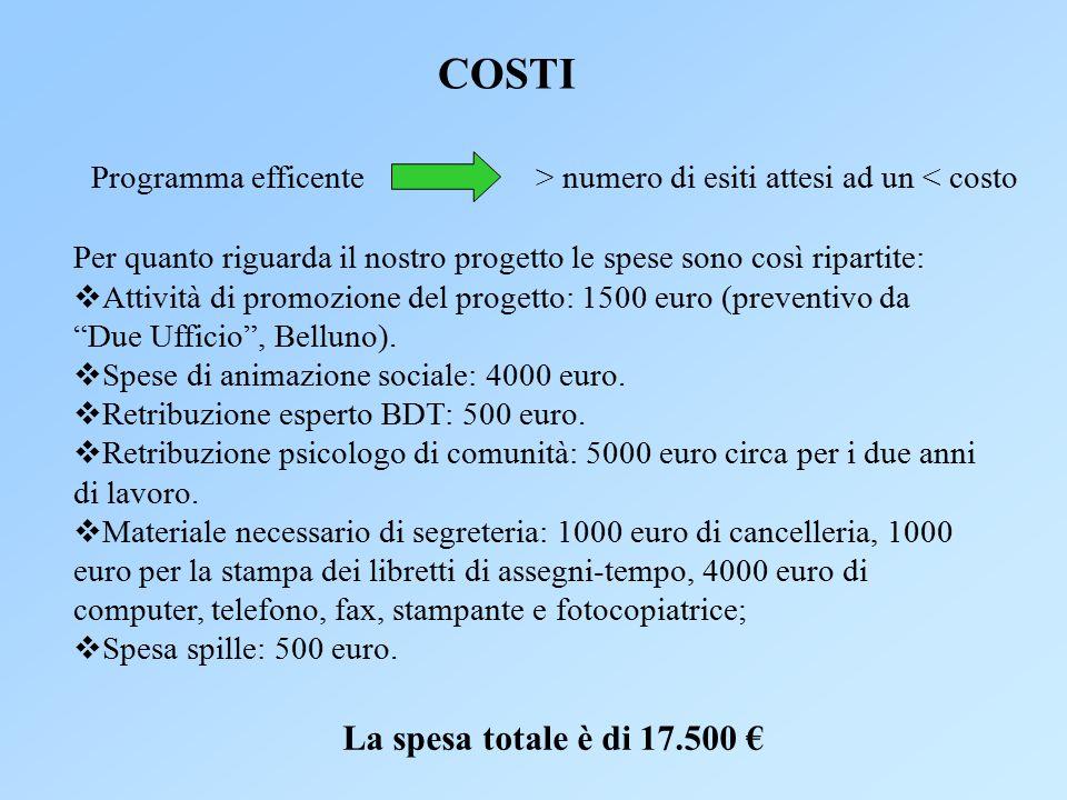 COSTI La spesa totale è di 17.500 € Programma efficente