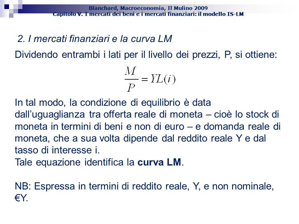 2. I mercati finanziari e la curva LM