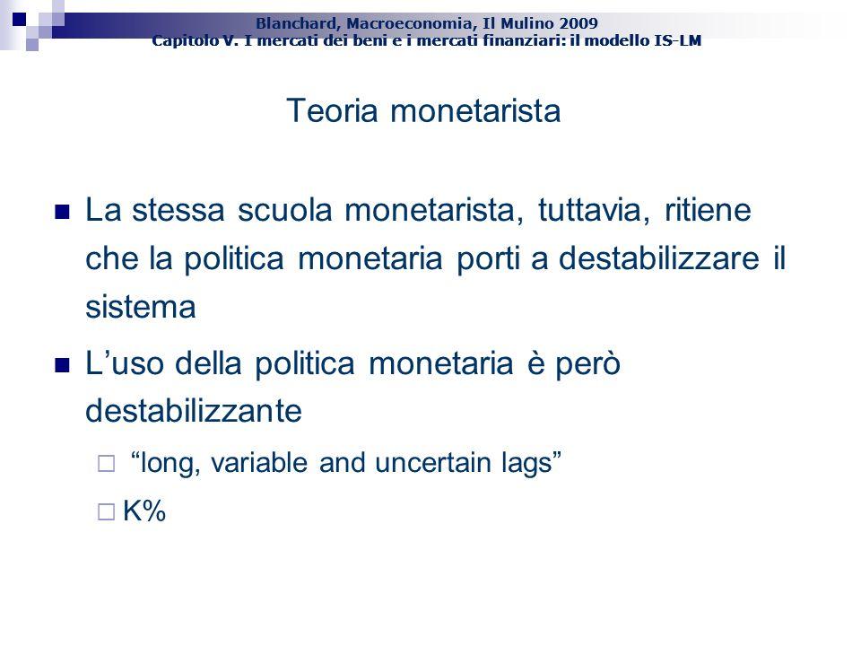 L'uso della politica monetaria è però destabilizzante