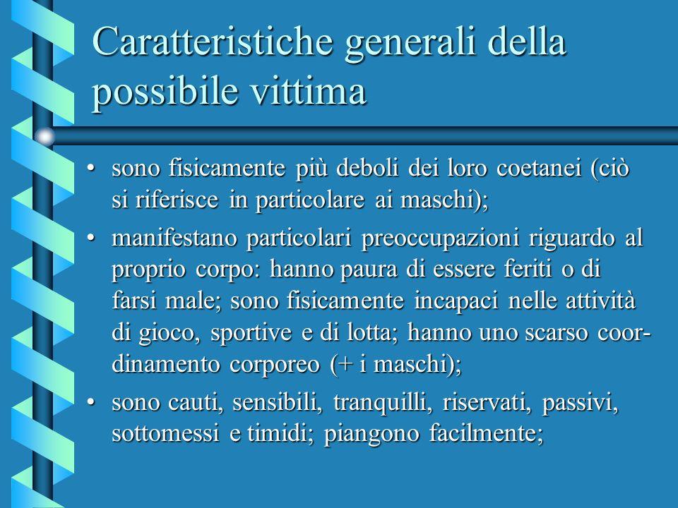 Caratteristiche generali della possibile vittima