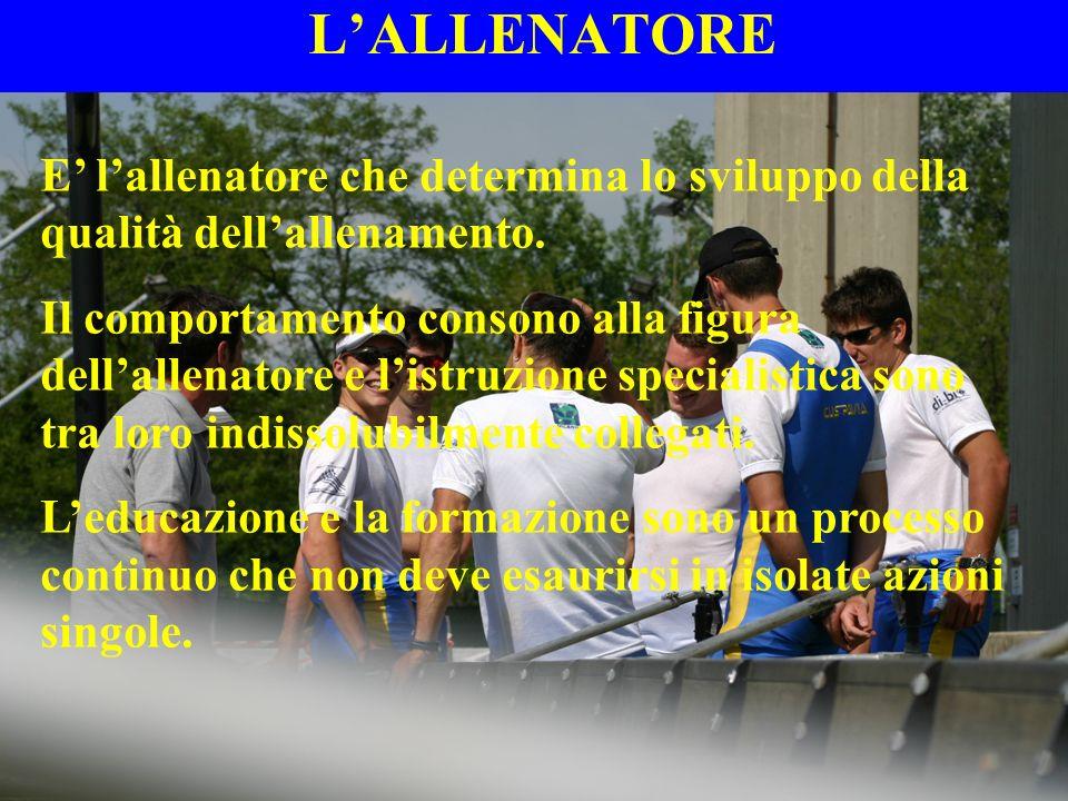 L'ALLENATORE E' l'allenatore che determina lo sviluppo della qualità dell'allenamento.