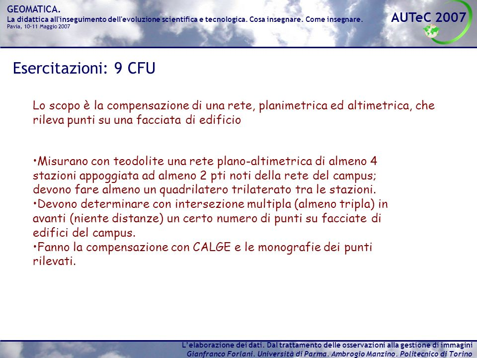 Esercitazioni: 9 CFU Lo scopo è la compensazione di una rete, planimetrica ed altimetrica, che rileva punti su una facciata di edificio.