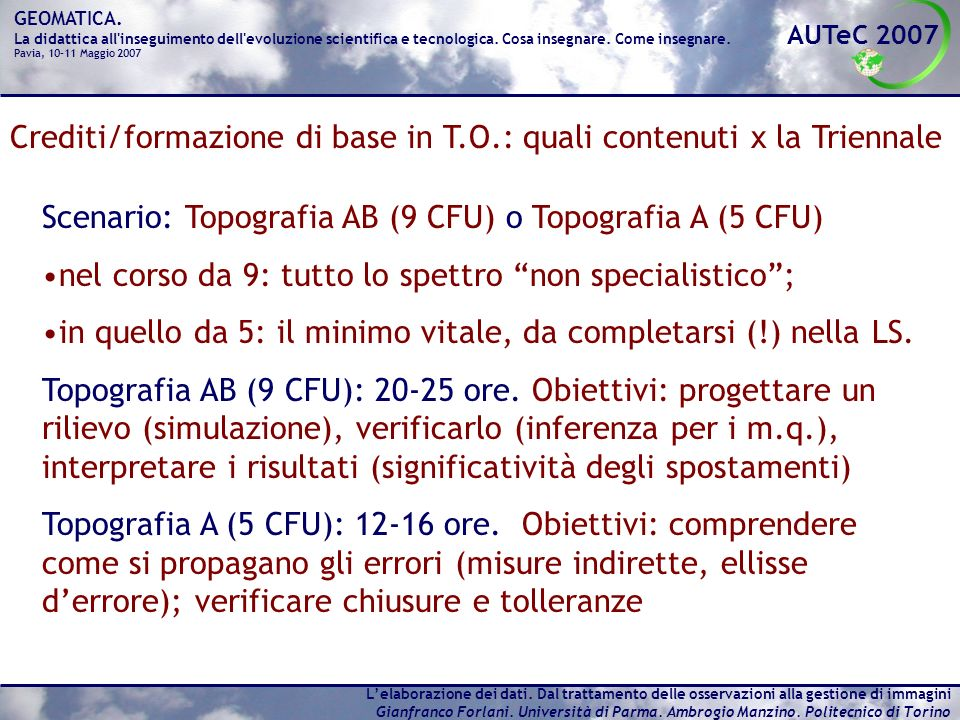 Crediti/formazione di base in T.O.: quali contenuti x la Triennale
