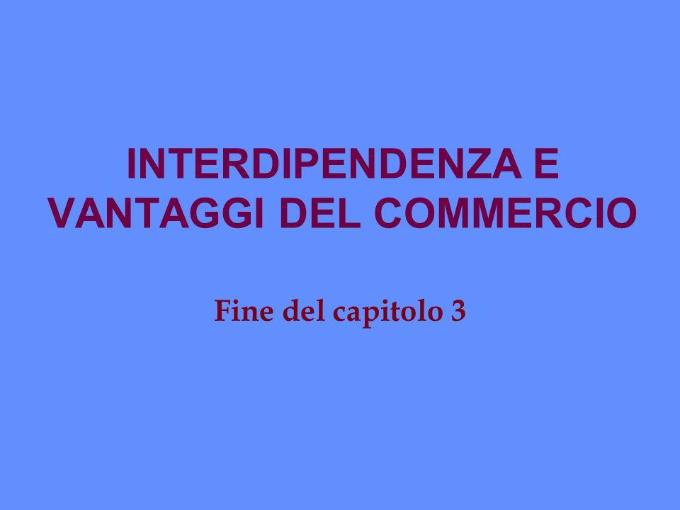 INTERDIPENDENZA E VANTAGGI DEL COMMERCIO