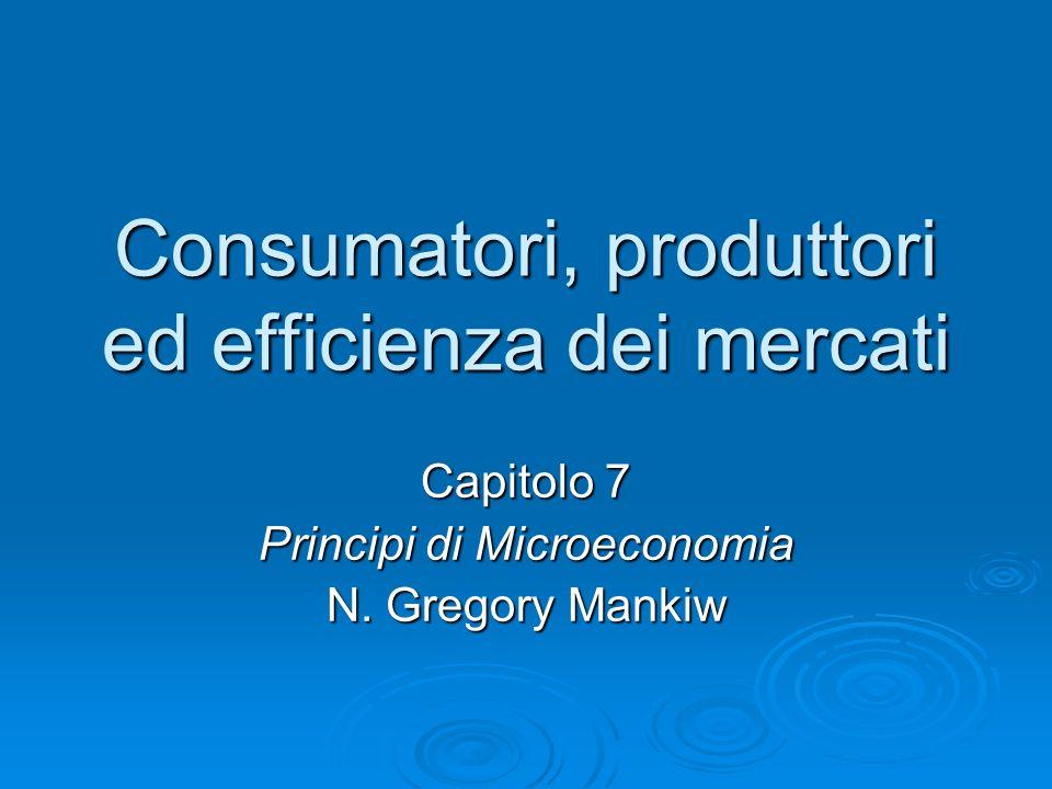 Consumatori, produttori ed efficienza dei mercati