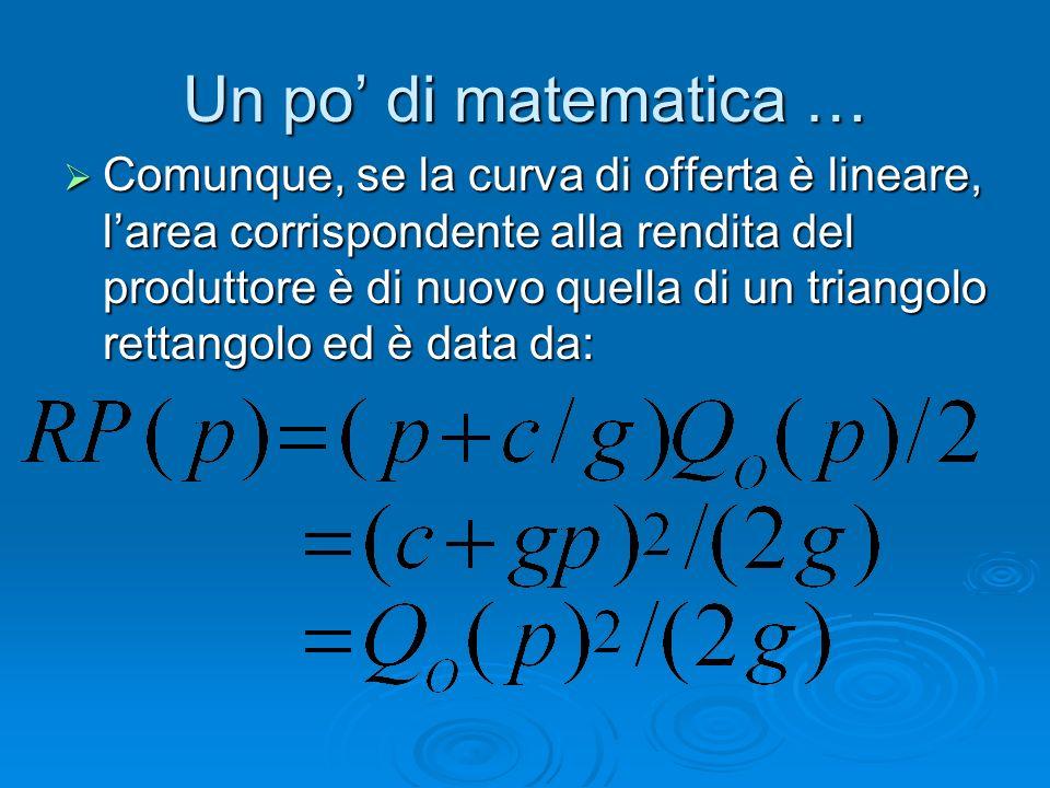 Un po' di matematica …