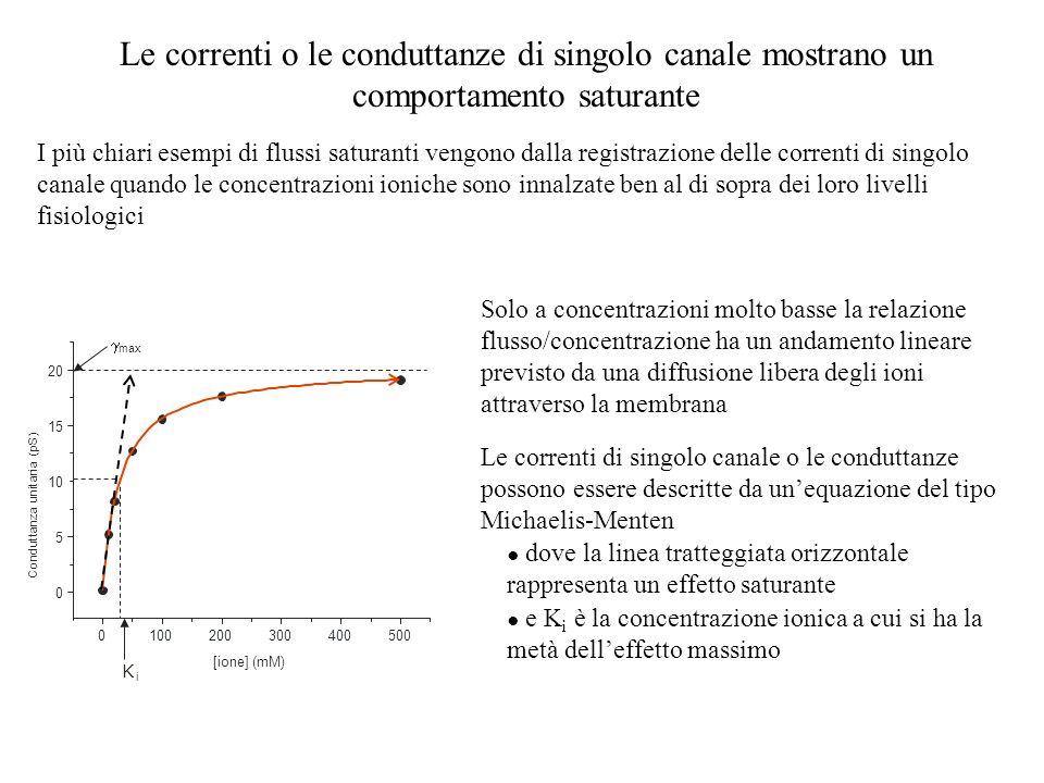 Le correnti o le conduttanze di singolo canale mostrano un comportamento saturante
