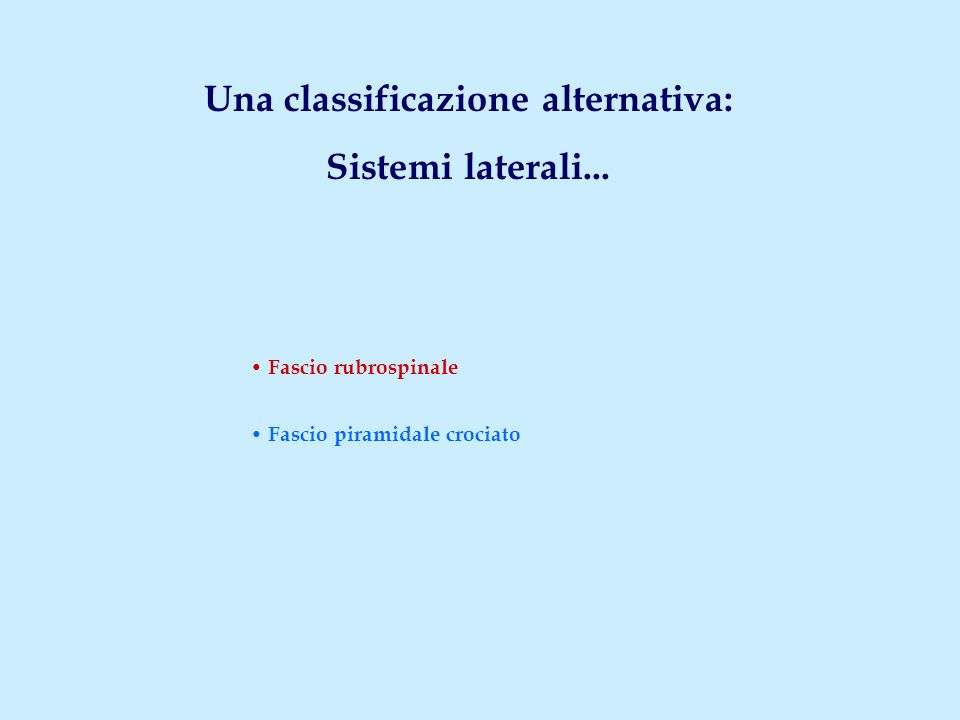Una classificazione alternativa: Sistemi laterali...
