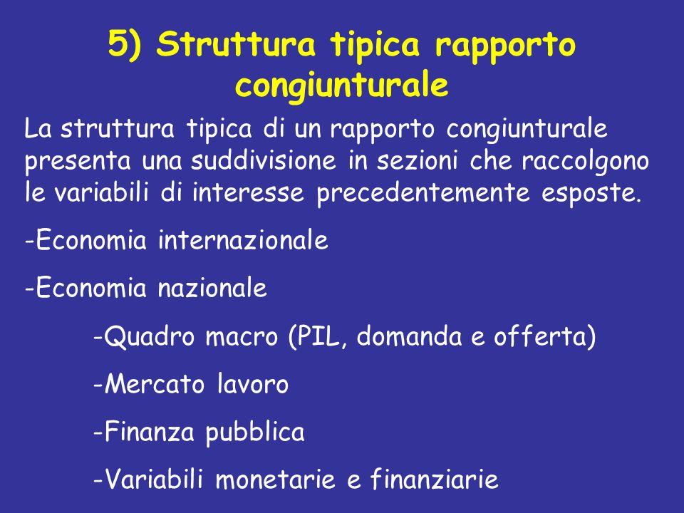 5) Struttura tipica rapporto congiunturale
