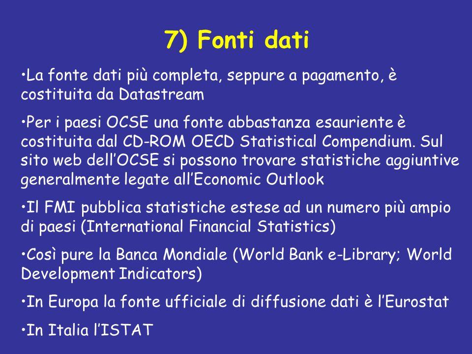 7) Fonti dati La fonte dati più completa, seppure a pagamento, è costituita da Datastream.