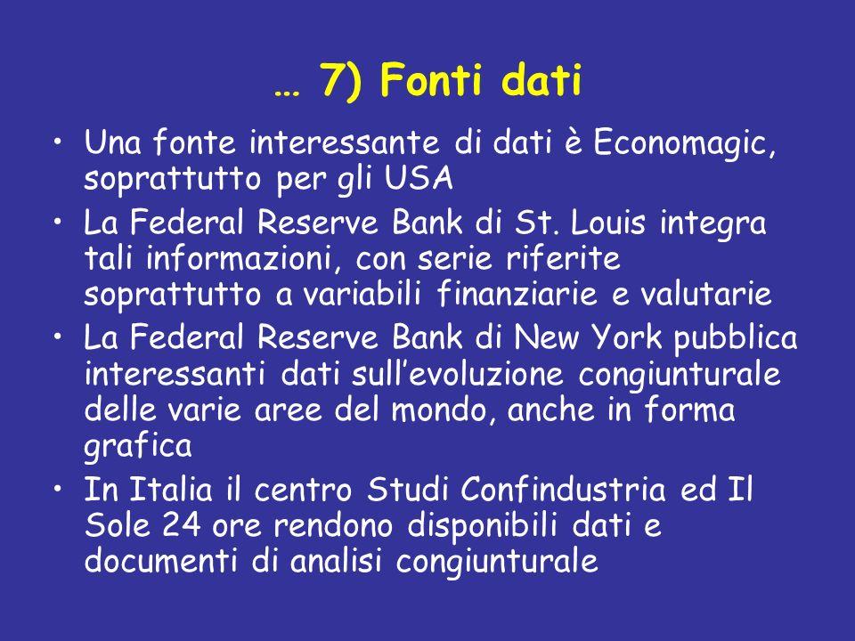 … 7) Fonti dati Una fonte interessante di dati è Economagic, soprattutto per gli USA.