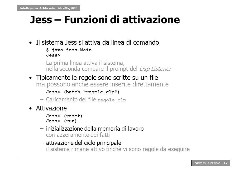 Jess – Funzioni di attivazione