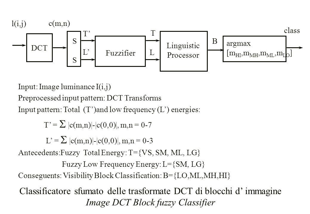 Classificatore sfumato delle trasformate DCT di blocchi d' immagine