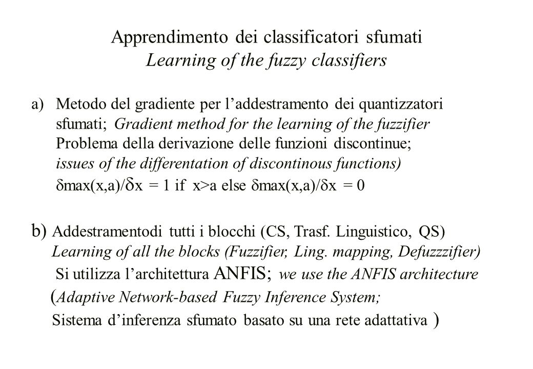 Apprendimento dei classificatori sfumati