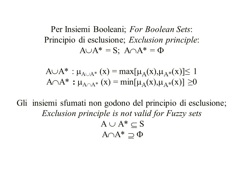 Per Insiemi Booleani; For Boolean Sets: