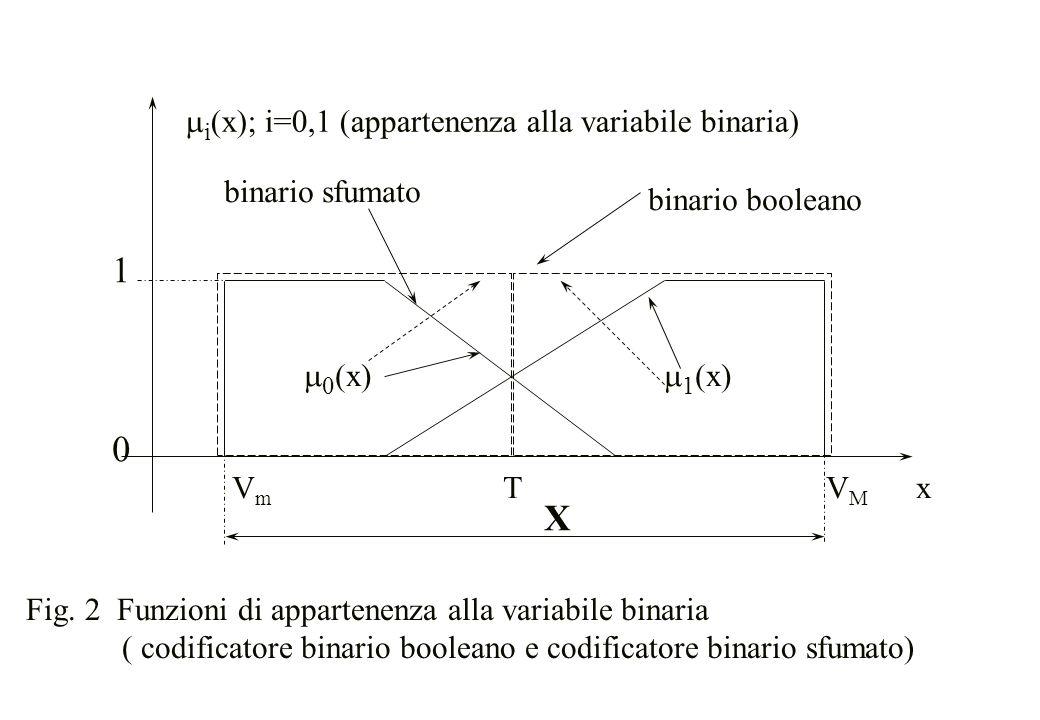 1 X mi(x); i=0,1 (appartenenza alla variabile binaria) binario sfumato
