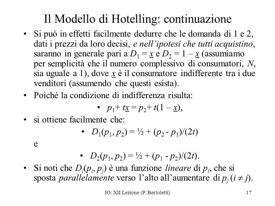 Il Modello di Hotelling: continuazione