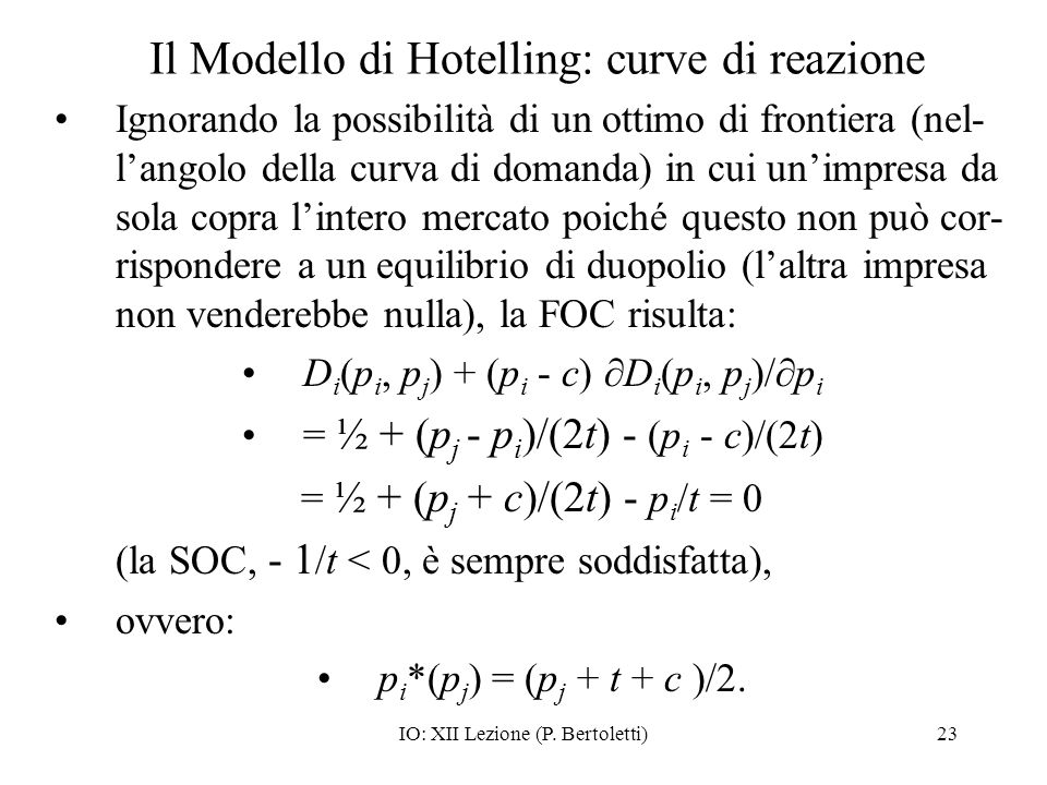 Il Modello di Hotelling: curve di reazione