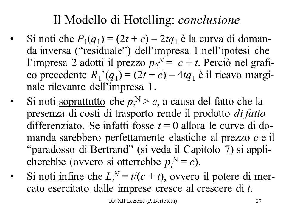 Il Modello di Hotelling: conclusione