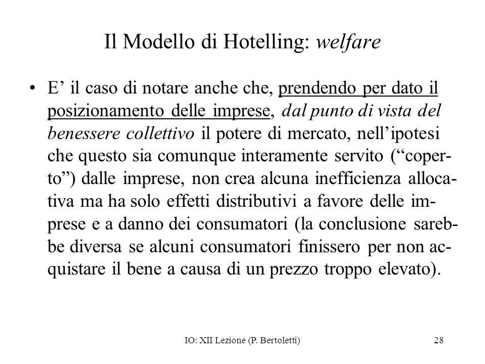 Il Modello di Hotelling: welfare