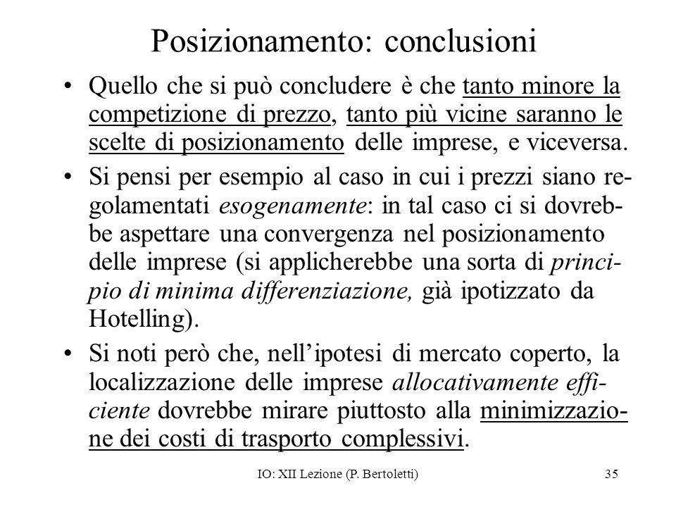Posizionamento: conclusioni