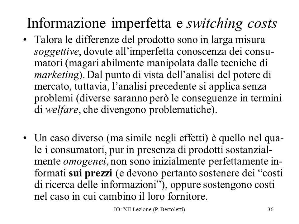 Informazione imperfetta e switching costs