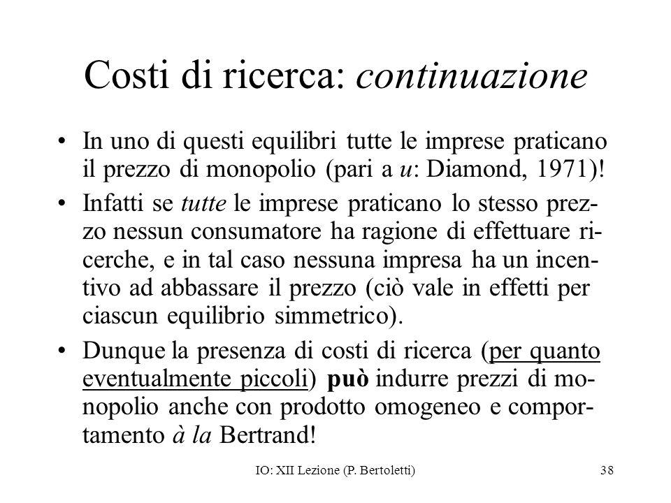 Costi di ricerca: continuazione