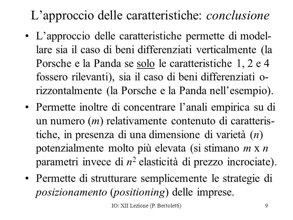 L'approccio delle caratteristiche: conclusione