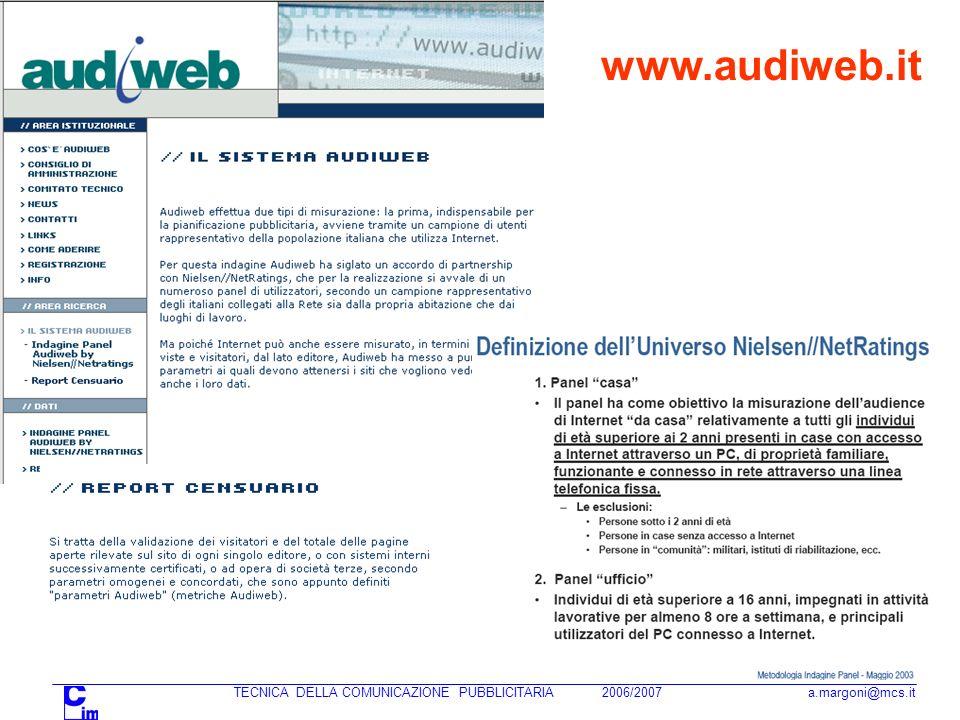 www.audiweb.it TECNICA DELLA COMUNICAZIONE PUBBLICITARIA 2006/2007 a.margoni@mcs.it.