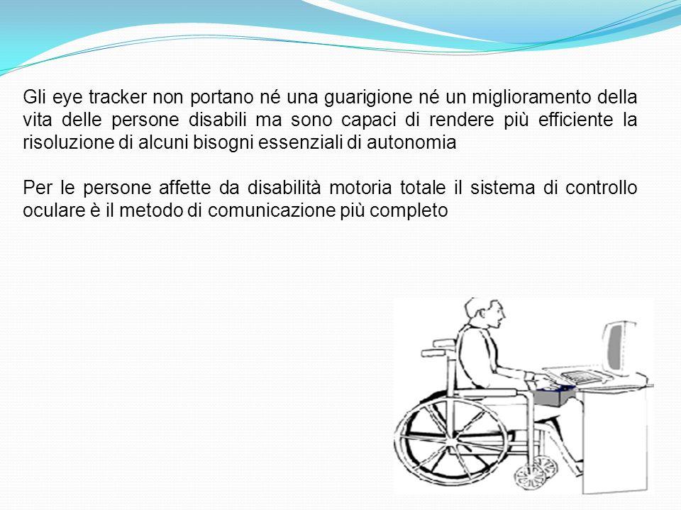 Gli eye tracker non portano né una guarigione né un miglioramento della vita delle persone disabili ma sono capaci di rendere più efficiente la risoluzione di alcuni bisogni essenziali di autonomia