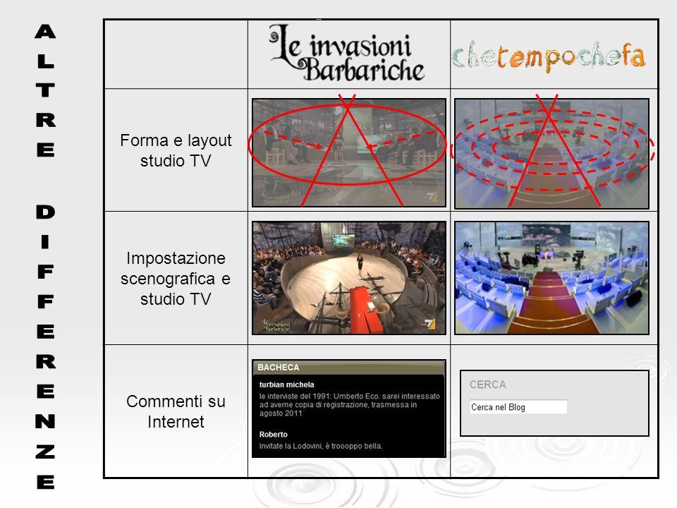 ALTRE DIFFERENZE Forma e layout studio TV
