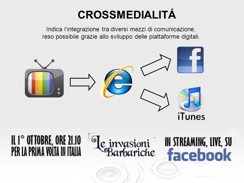 CROSSMEDIALITÁIndica l'integrazione tra diversi mezzi di comunicazione, reso possibile grazie allo sviluppo delle piattaforme digitali.