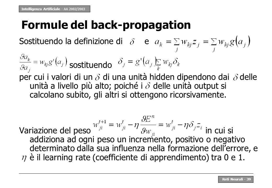 Formule del back-propagation