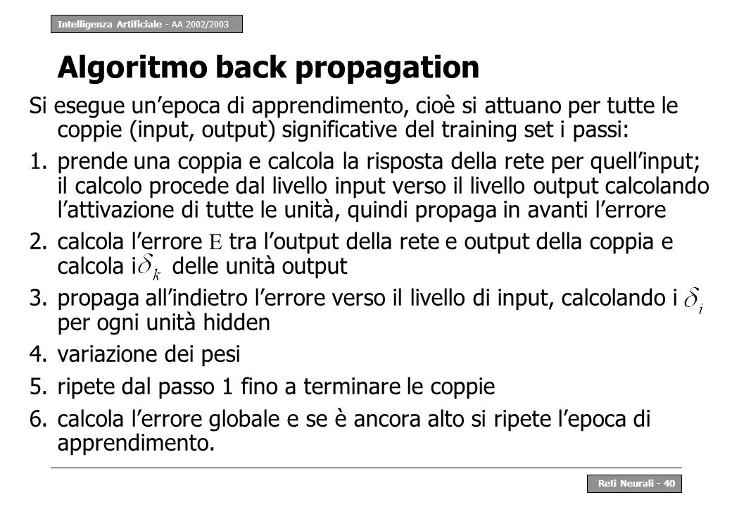 Algoritmo back propagation