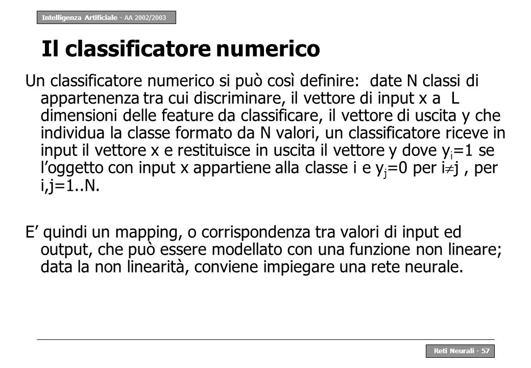 Il classificatore numerico