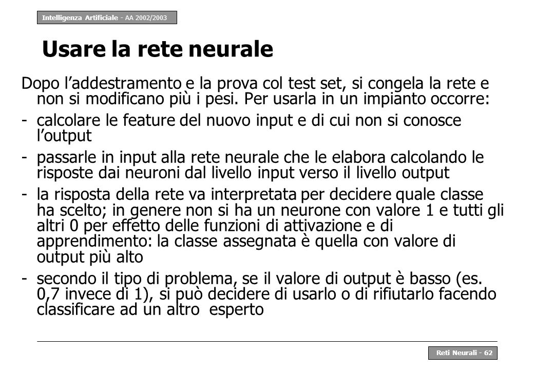 Usare la rete neurale